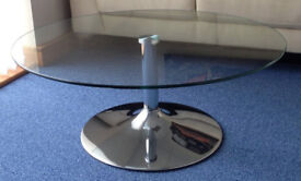 Glass & Chrome Levv Coffee Table