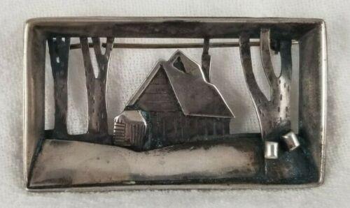 Sterling Silver Abbott Gotshall Diorama New England Log Cabin Woods Brooch Pin