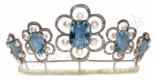 10.25ct Rose Cut Diamond  Topaz Pearl 925 sterling silver Wedding  tiara Crown