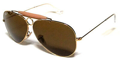 RAY BAN 3138 62 SHOOTER GOLD GOLD B15 POLARIZED BROWN CUSTOMIZED REMIX SOLE