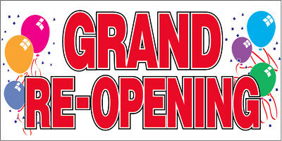 Grand Re-opening Vinyl Banner Sign 2x4 Ft - Balloons Wb