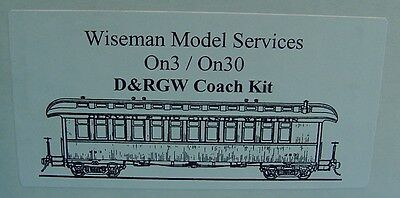 On3/On30 WISEMAN SM-103 D&RGW OPEN PLATFORM COACH PASSENGER CAR KIT