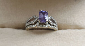 One of a kind purple sapphire diamond  ring set $900obo