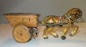 Penguin-Marx England-tin horse with cart (1835-1940)