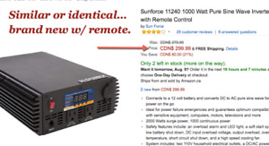 Pure Sine Wave 1000W inverter & remote control