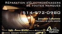 REPARATION ET INSTALLATION D'ELECTROMENAGERS 514-972-0980