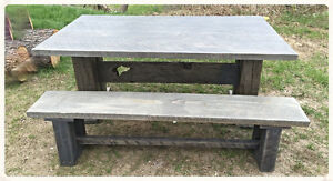 Grey weathered barnwood harvest table & bench set. On Sale!
