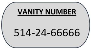 montreal 514-XY66666 RARE lucky vanity vip phone number for sale