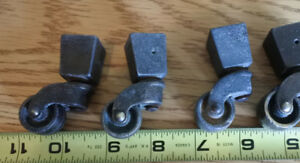 4 Rare Antique Metal Square Cap Casters