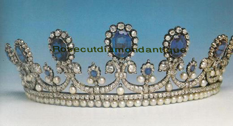 VICTORIAN ROSE CUT 11.52ct DIAMOND STERLING SILVER 925 ENGAGEMENT SAPPHIRE TIARA