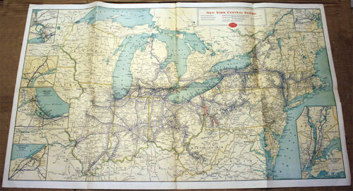 ORIGINAL 1951 NEW YORK CENTRAL SYSTEM RAILWAY ROUTE MAP - GREAT CONDITION!