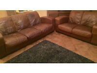 3 and 2 Seater DFS Leather Sofas