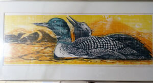 Lila Lewis Irving , Signed Framed Print 11/80 - Common Loons