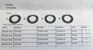 4 Pneus Hiver TIGER PAW  195/65R15  |  Bande: 7/7/6/6  |  NO RIM
