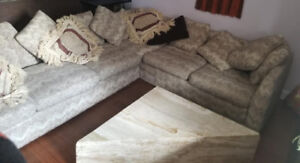 70s vintage L shaped sectional sofa