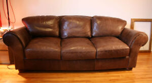 Canapé/ Sofa/ Couch -Vintage- Cuir/ leather-3 places/seats