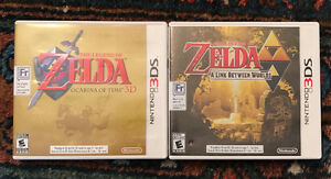 Zelda Ocarina of Time and Zelda Link Between Worlds 3DS