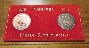TWO 1870-1970 Manitoba Centennial Commemorative Medals Uncl Kitchener / Waterloo Kitchener Area image 1