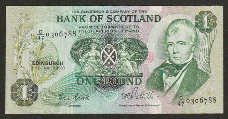 1983 SCOTLAND 1 POUND NOTE UNC