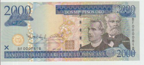 Dominican Republic 2000 Pesos 2009 Pick 181b UNC Low number 000818