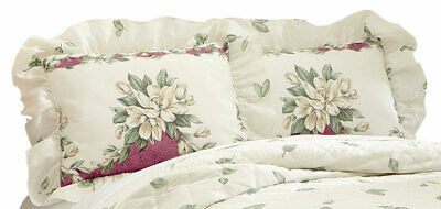 magnolia garden floral ruffle pillow sham