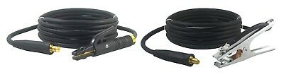 200 Amp Welding Leads Set - Lc40 Connector - 2 Awg Cable 15 Feet Each Lead