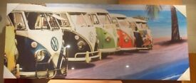 Large Wall Canvas Of coloured Volkswagen Split Screen Camper Vans In A Row 120 cm x 50 cm x 3 cm