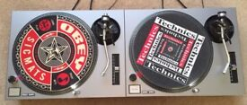 2 X Technics SL-1210 MK2 Turntable With Custom Silver Covers