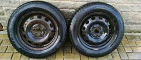 Steel 15 inch wheels with winter tyres