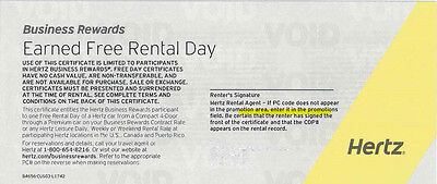 FIVE (5) HERTZ CAR RENTAL DAY VOUCHERS (expiry 3/31/2017)