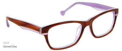 NEW Women's Frame Lisa Loeb Rose Colored Times C2 Lilac Brown glasses/case 0070