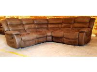 Recliner Corner Sofa Suede - Brown. Can deliver