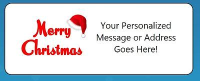 60 Personalized Merry Christmas Santa Hat Script Return Address Labels