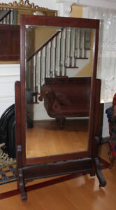 Antique Cheval Mirror - Large Solid Oak!  Just refinished!