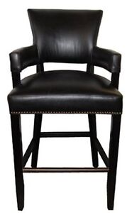 Bar n Counter Stool with Arms in Black with Brass Nailhead Trim