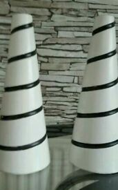 2 Beautiful Modern Black and White Vases