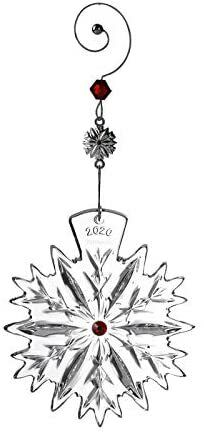 2020 WATERFORD ANNUAL SNOWFLAKE WISHES LOVE CRANBERRY ORNAMENT 1055480