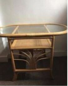 Cane glass-top oval 2-seater dining table, very good condition