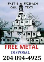 FREE scrap metal disposal      >>> CALL 204 894 - 4925 <<<