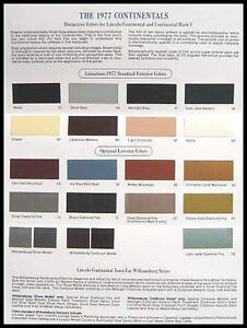 1977-Lincoln-Cont-Color-Selection-Paint-Chip-Brochure