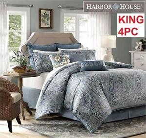 NEW HH 4PC COMFORTER SET KING   HARBOR HOUSE - BELCOURT - MULTI-COLOUR - BEDDING BEDROOM  BLANKET PILLOW CASE 97292528