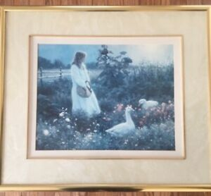 Young Woman with Geese framed print