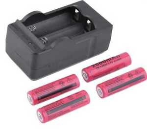 4x 2500mAh TR14500 3.7V Rechargeable Li-ion Battery +Charger