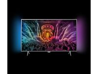 49 inch 4K HDR TV Philips 49PUS6401 with Ambilight no offers with box.
