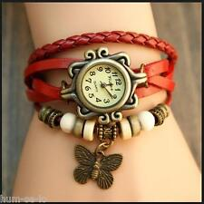 VINTAGE RETRO BEADED BRACELET LEATHER WOMEN WRIST WATCH - BUTTERFLY RED