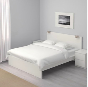 IKEA MALM QUEEN BED in WHITE