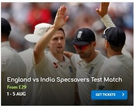 2 Tickets for India v England 1st test at Edgebaston Saturday 4th August Face value price