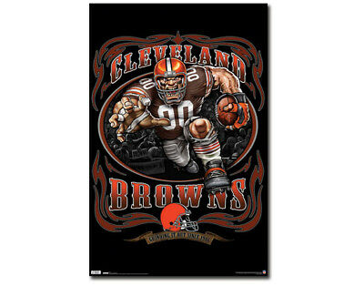 Rare Cleveland Browns GRINDING IT OUT SINCE 1946 NFL Theme Art Logo POSTER (Nfl Theme)