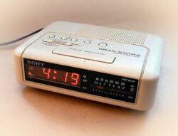 SONY DREAM MACHINE FM/AM Digital Alarm Clock Radio Snooze Tan LED Retro ICF-C240