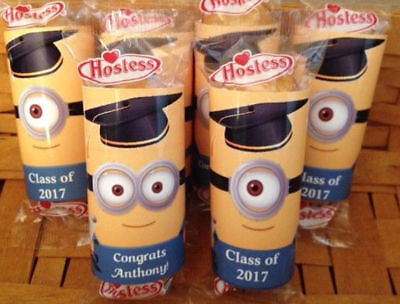 12 Graduation Party Favors Minion Twinkies Wrappers Labels - Minion Party Favor